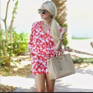 Trouve Romper Red and white long sleeve